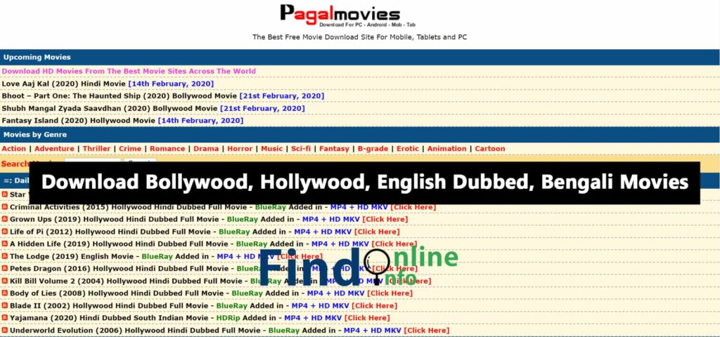 Pagalmovies Website