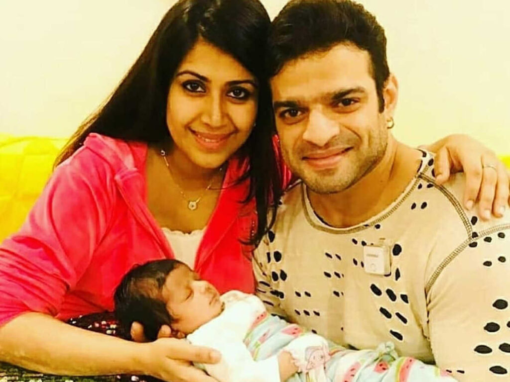 karan patel with her wife and child