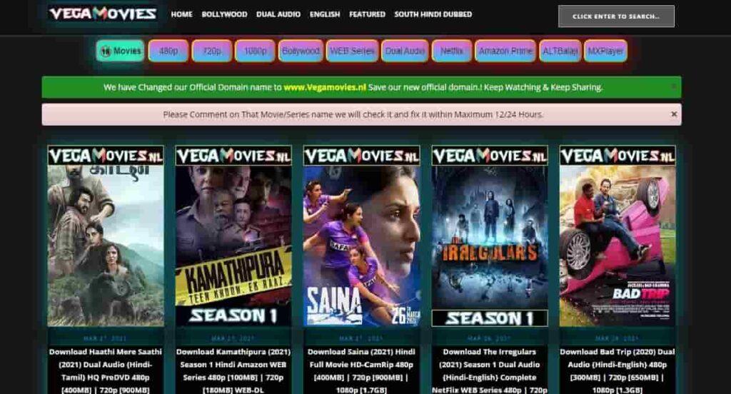 VegaMovies Website